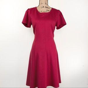 Ponte Round Neck Princess Seam A-Line Dress